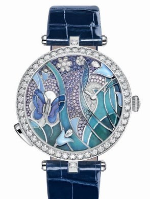 White gold, sapphire and diamond Lady Arpels Papillon Automate,  Van Cleef   & Arpels