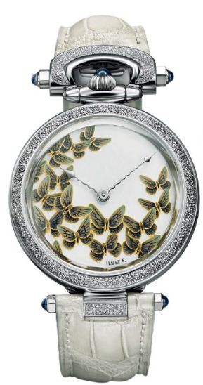 "White gold Amadeo  Fleurier 39 ""Butterflies"" Grand Feu  Enamel, Bovet"