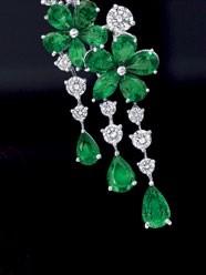 White gold, emerald and diamond Carissa earrings, Gra