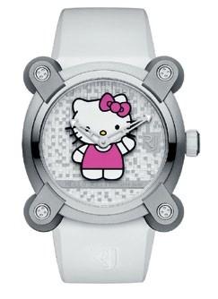 Romain Jerome's Hello Kitty watch bears a multilevel pixel dial